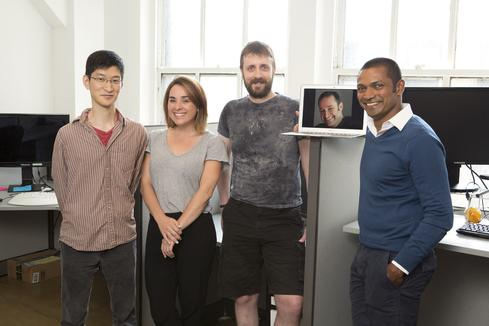 Software tester John Cha (left), director of testing Brandi Colledge, QA tester Mark Leslie and ULTRA Testing co-founders Art Shectman (on screen) and Rajesh Anandan. Image source: ULTRA Testing.
