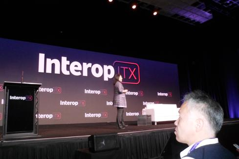 Susie Wee at Interop Keynote. Source: Charles Babcock
