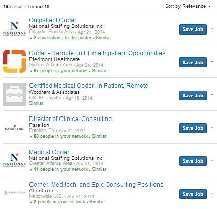 Current LinkedIn job postings asking for ICD-10 skills.