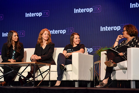 From left to right: Heather Doshay (VP, People, Rainforest QA), Brigid Tabour (Principal, IT Advisory, Digital and Emerging Technology, Ernst & Young), Aubrey Blanche (Global Head of Diversity & Inclusion, Atlassian), Nicole Sanchez (CEO and Founder, Vaya)