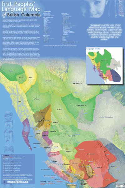 Image: First Peoples' Cultural Council  Caption: First People's Language Map of British Columbia