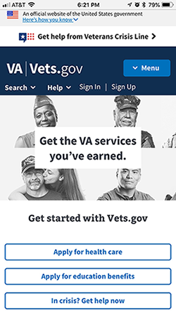 Screenshot of Vets.gov mobile website