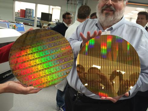 NAND flash wafers. Photo from Storage Field Day 5 tour at SanDisk.